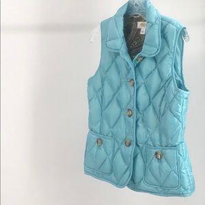 Talbots Ladies Puffer Vest Down  Blue SP NWOT